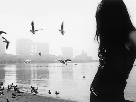 девушка спиной, на заднем плане птицы, по дороге разочарований