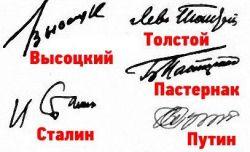 подпись и характер, образца подписей деятелей литературы и политиков
