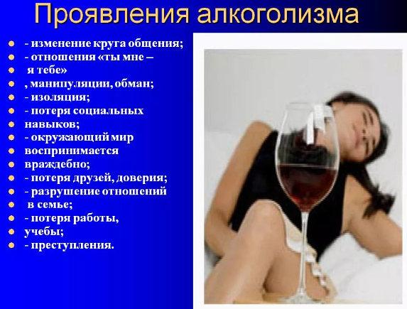 проявления алкоголизма